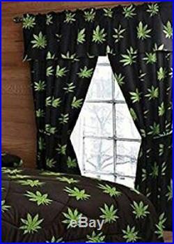 10 PCS POT MARIJUANA LEAF WEED Comforter, Sheet and Curtain SET