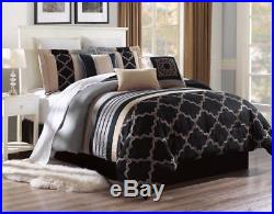 10 Piece Black Beige Gray Comforter Set Queen Or King Size AT Linen Plus