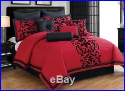 10 Piece Dawson Black and Red Comforter Set