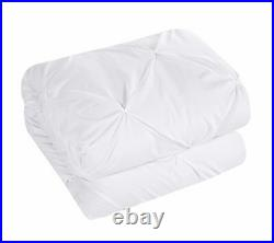 10 Piece Mycroft Pinch Pleated Bed In a Bag Comforter Set sheets Pillows White