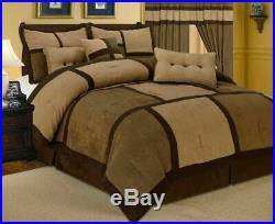 11 PIECE Brown Tan Patchwork Comforter Sheet Set Micro Suede King Size