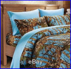 12 PC POWDER BLUE CAMO! QUEEN COMFORTER SHEET and PILLOWCASES SET WITH CURTAINS
