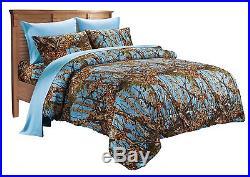 12 Pc Queen Powder Blue Camo Comforter And Sheet Set Curtain Bedding Microfiber