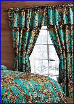12 Pc Seafoam Green Camo Comforter Sheet Set Curtains Queen Camouflage Woods