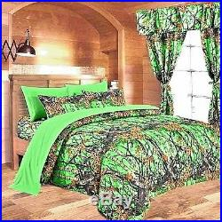 12 Pc Set! Full Size Biohazard Green Camo! Comforter Sheets Curtains Camouflage