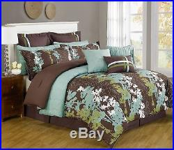 12 Pc Teal, Green, Brown & White Floral Print Comforter Set with Quilt