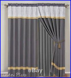 16 Piece Oversize Gray Yellow Embroidery Comforter + Curtain Set Queen Size