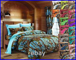 17 Pc King Set! Powder Blue Camo Comforter Sheets Pillowcases And Curtains