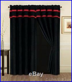 19 Piece Comforter Curtain Sheet Set Red Black Micro Suede Patchwork Queen Size