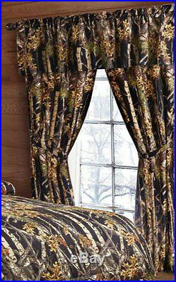 22 Pc Black Camo King Size Set, Comforter Sheets Pillowcases Curtains Camouflage