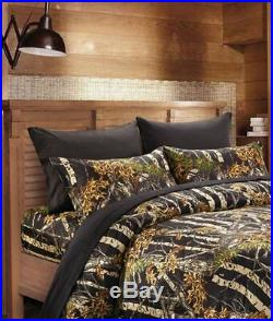 22 Pc Black Camo Queen Size Set! Comforter Sheet Curtain Camouflage Bedding New