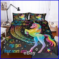 3D Magical Star Unicorn Kids Bedding Set Duvet Cover Comforter Cover Pillow Case