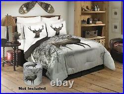 3 PC Deer Buck Comforter Set Woods Queen Size Bedding Bedroom Blanket Shams Hunt