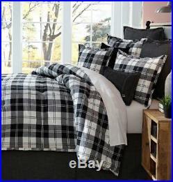 3-Pc Cremieux Ramsey QUEEN Comforter Set Buffalo Plaid Black White Shabby Chic