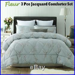 3 Pce Fleur Sage Jacquard Comforter Set by Accessorize QUEEN KING