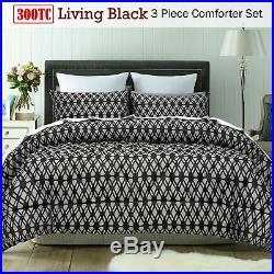 3 Piece 300TC Living Black Jacquard Comforter Set by Accessorize QUEEN KING