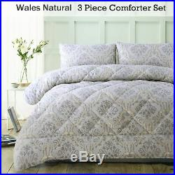 3 Piece Wales Natural Jacquard Comforter Set by Accessorize QUEEN KING
