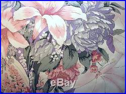 3 pcs100% mulberry silk charmeuse Queen Duvet comforter cover set 86x86 Lilies