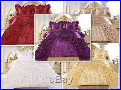 3pc Ahlam Real 3D Burgundy Comforter Set Bedspread Flower Ruffle Oversized Q/K