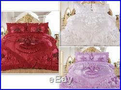 3pc Love Real 3D Burgundy Comforter Set Bedspread Flower Ruffle Oversized Q/K