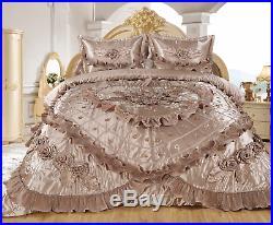 3pc Shurook Real 3D Taupe Comforter Set Bedspread Flower Ruffle Oversized Q/K