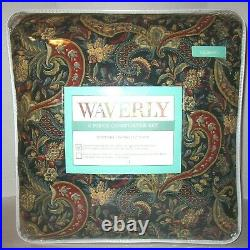 4P Waverly Rhapsody Jewel Reversible Queen Comforter Set Floral Gold Red Blue