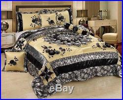 4 6 PC Floral Silver Winter Moon Elegant Patchwork Bedding Comforter Quilt Set
