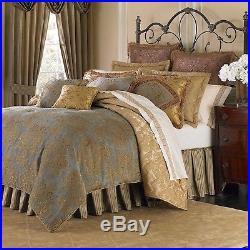 4-Pc Michael Amini Victoria QUEEN Comforter Set Damask Paisley Spa Aqua Gold