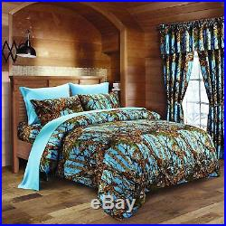 4 Pc Twin Powder Blue Camo Comforter And Sheet Set! Bedding Soft Microfiber