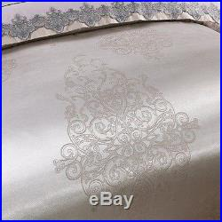 4 Piece Luxury Bedspreads Comforter Duvet Cover Set Silver (King, Queen)