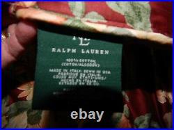 4 SET Queen Red Floral Desert Plains RALPH LAUREN Comforter 2 Shams & Bed Skirt
