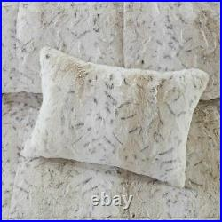 4pc Reversible Snow Leopard Print Faux Fur Comforter Set AND Decorative Pillow