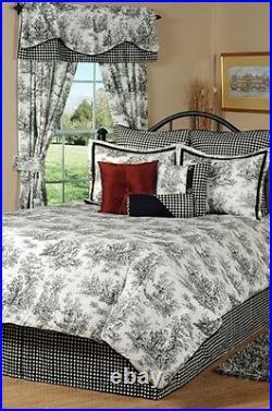 4pc Stunning Black/White Classic Toile Luxury Comforter Set Queen