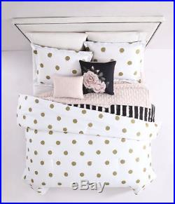 6-Piece Emma Gold/White/Blush with Quilted Throw Comforter Set Full/Queen