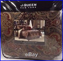 7PC J. QUEEN Roma QUEEN COMFORTER SET EUROS PILLOW Floral Red Gold Black NEW
