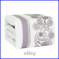 7Pcs Luxury Embroidery Microfiber Comforter Set Bed In A Bag, King Size, Glendon