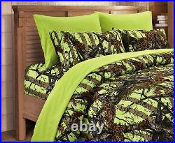 7 PC LIME QUEEN SET! With KING COMFORTER QUEEN SHEETS CAMOUFLAGE Yellow Camo
