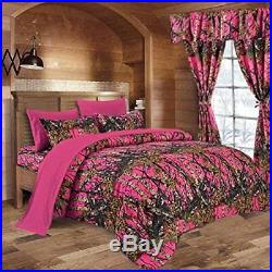 7 Pc Hi Viz Pink Camo Comforter And Sheet Set King Set Camouflage Woods