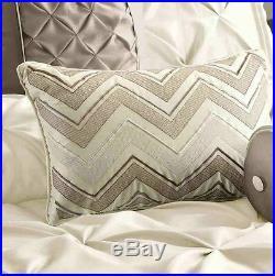 7 Pc Modern Chic Elegant Ruffled Pintuck Pleat Ivory White Taupe Comforter Set