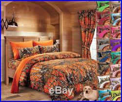 7 Pc Queen / King Orange Camo Bedding Set! King Comforter With Queen Sheets