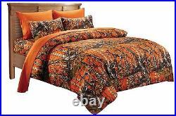 7 Pc Queen Orange Camo Bedding Set! Comforter Sheet Bed Camouflage Microfiber