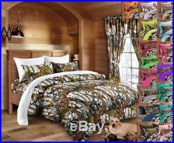 7 Pc Set! White Camo Queen Size Bedding Comforter Sheet Snow Woods Camouflage