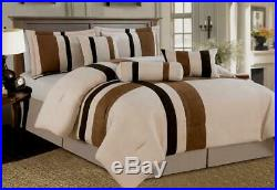 7 Piece Beige Brown Micro Suede Comforter Set Queen Size New MODERN