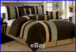 7 Piece Brown Beige & Sage Patchwork Micro Suede Comforter Set King, Queen, Full