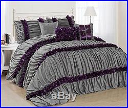7 Piece Caralina Gray with Purple Stripe Ruffled Pleated Comforter Set King