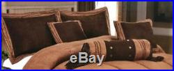 7 Piece Comforter Set Western Texas Embroidered Luxury Rustic Brown Queen King