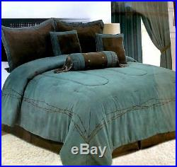 7 Piece Comforter Texas Western Barbwire Embroidered Bed Luxury Set Queen King