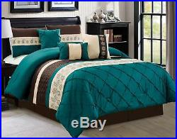 7 Piece Luxury Embroidery Microfiber Soft Bedding Comforter Set Queen Size, Teal