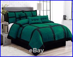 7 Piece Patchwork Green Black Micro Suede Comforter Set Cal King Size
