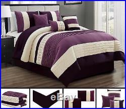 7 Piece Purple Beige Comforter Sheet Set Queen Or King Size AT Linen Plus